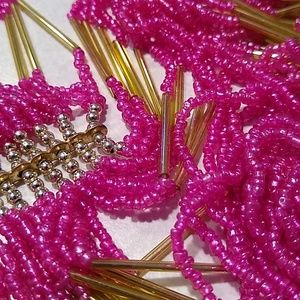 Jewelry - Pink Glass Hand-beaded Necklace